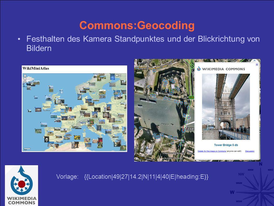 Commons:Geocoding Festhalten des Kamera Standpunktes und der Blickrichtung von Bildern Vorlage: {{Location|49|27|14.2|N|11|4|40|E|heading:E}}