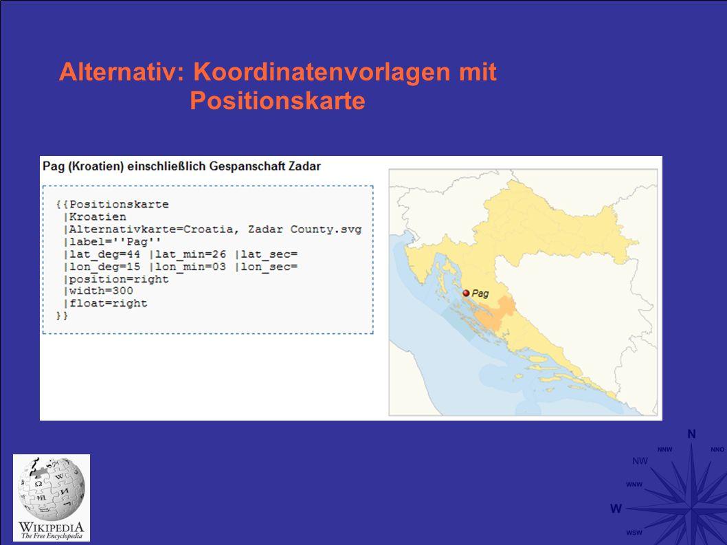 Alternativ: Koordinatenvorlagen mit Positionskarte
