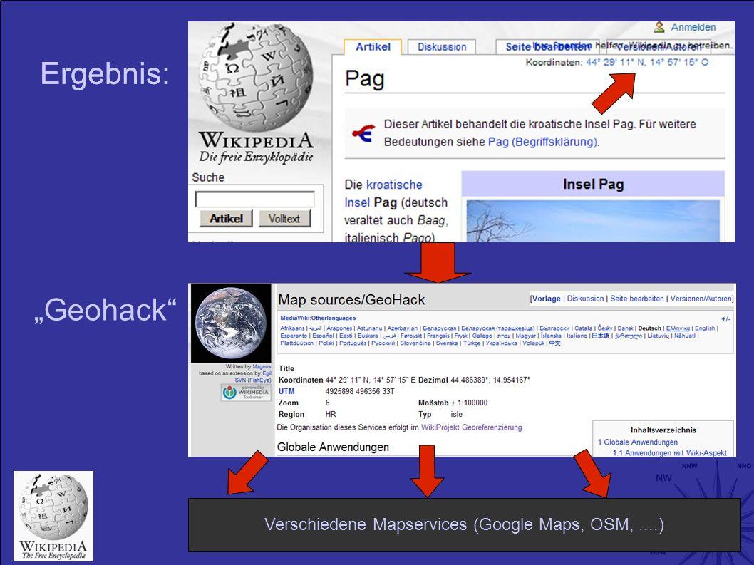 Ergebnis : Geohack Verschiedene Mapservices (Google Maps, OSM,....)