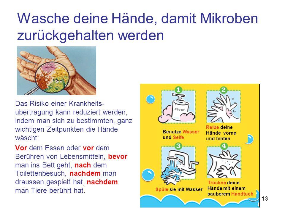 13 Das Risiko einer Krankheits- übertragung kann reduziert werden, indem man sich zu bestimmten, ganz wichtigen Zeitpunkten die Hände wäscht: Vor dem