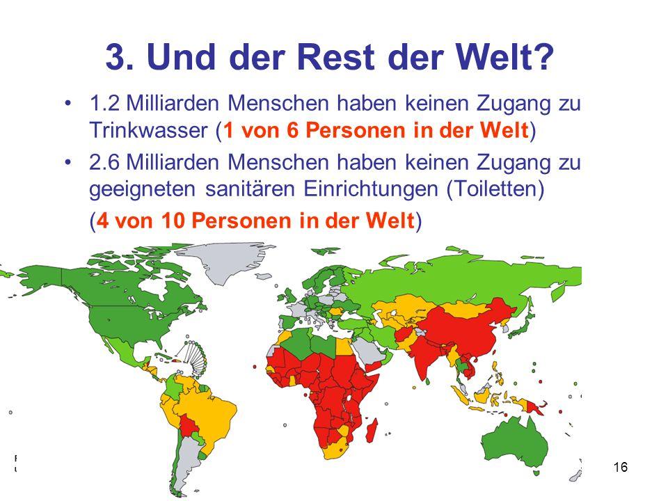 16 3. Und der Rest der Welt? 1.2 Milliarden Menschen haben keinen Zugang zu Trinkwasser (1 von 6 Personen in der Welt) 2.6 Milliarden Menschen haben k