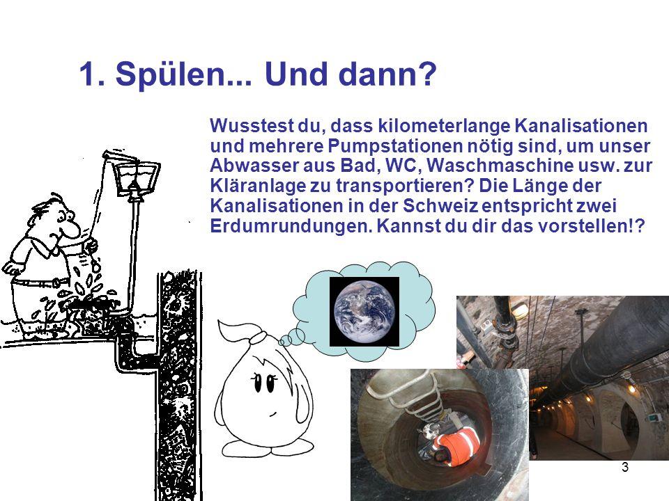 3 1. Spülen... Und dann? Wusstest du, dass kilometerlange Kanalisationen und mehrere Pumpstationen nötig sind, um unser Abwasser aus Bad, WC, Waschmas
