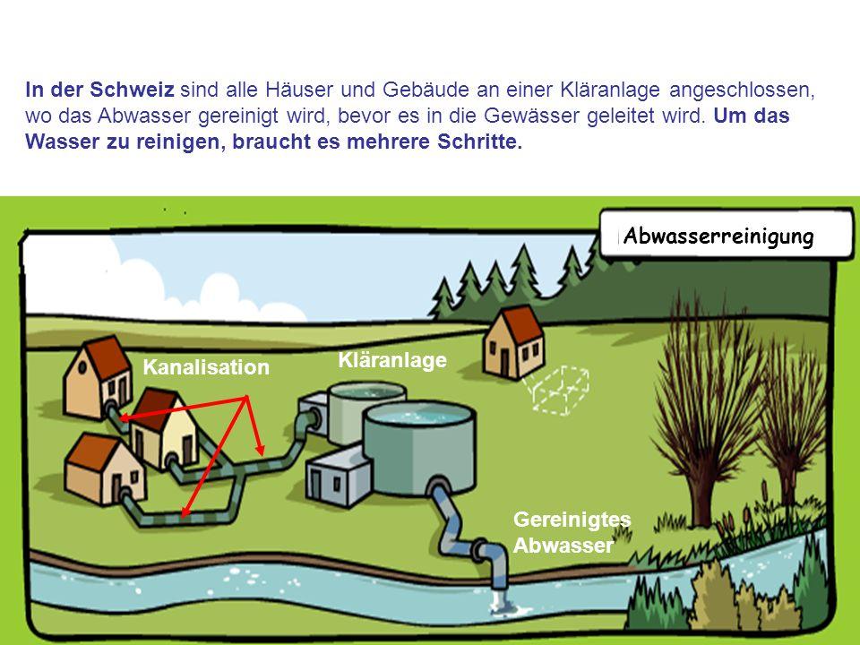 4 Kläranlage Gereinigtes Abwasser In der Schweiz sind alle Häuser und Gebäude an einer Kläranlage angeschlossen, wo das Abwasser gereinigt wird, bevor