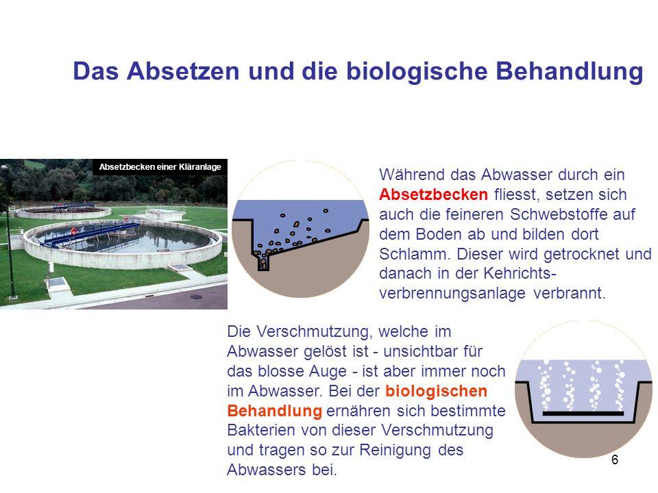 6 Das Absetzen und die biologische Behandlung Während das Abwasser durch ein Absetzbecken fliesst, setzen sich auch die feineren Schwebstoffe auf dem