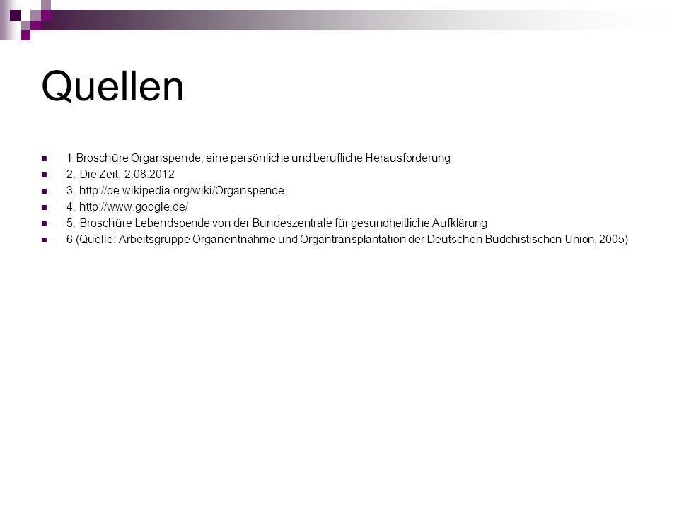 Quellen 1 Broschüre Organspende, eine persönliche und berufliche Herausforderung 2. Die Zeit, 2.08.2012 3. http://de.wikipedia.org/wiki/Organspende 4.