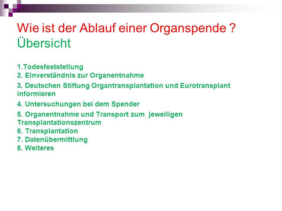 Wie ist der Ablauf einer Organspende ? Übersicht 1.Todesfeststellung 2. Einverständnis zur Organentnahme 3. Deutschen Stiftung Organtransplantation un