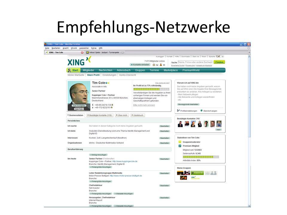 Empfehlungs-Netzwerke