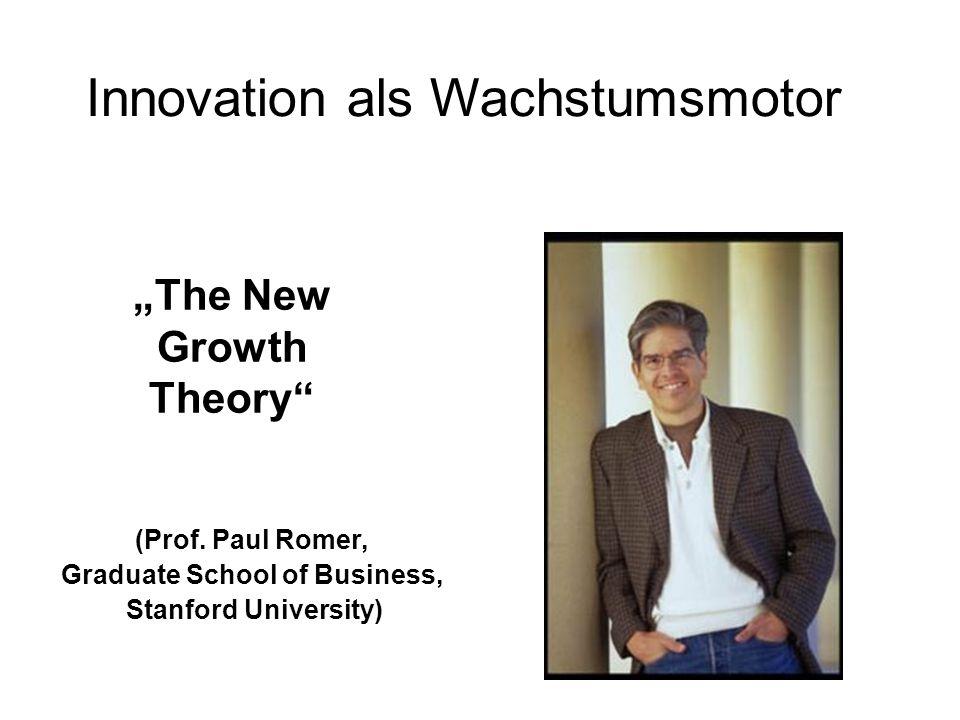 Innovation als Wachstumsmotor The New Growth Theory (Prof. Paul Romer, Graduate School of Business, Stanford University)
