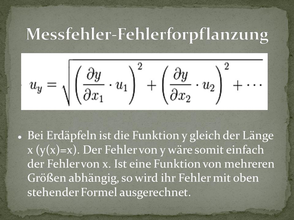 Bei Erdäpfeln ist die Funktion y gleich der Länge x (y(x)=x). Der Fehler von y wäre somit einfach der Fehler von x. Ist eine Funktion von mehreren Grö