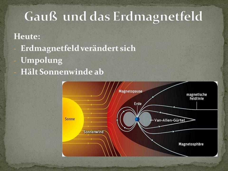 Heute: - Erdmagnetfeld verändert sich - Umpolung - Hält Sonnenwinde ab