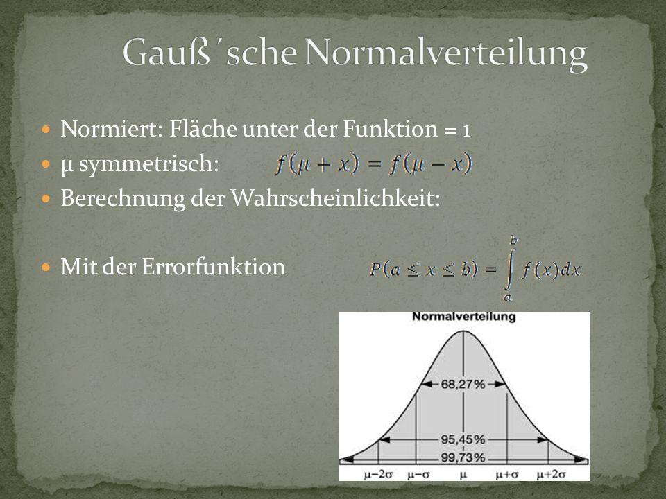 Normiert: Fläche unter der Funktion = 1 μ symmetrisch: Berechnung der Wahrscheinlichkeit: Mit der Errorfunktion