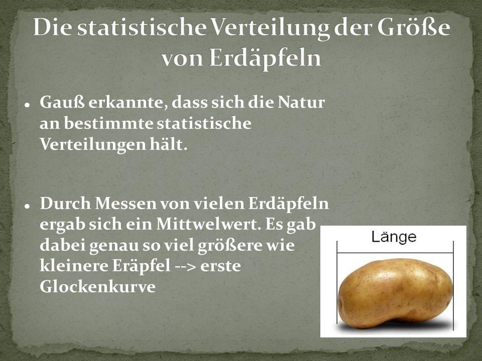 Gauß erkannte, dass sich die Natur an bestimmte statistische Verteilungen hält. Durch Messen von vielen Erdäpfeln ergab sich ein Mittwelwert. Es gab d