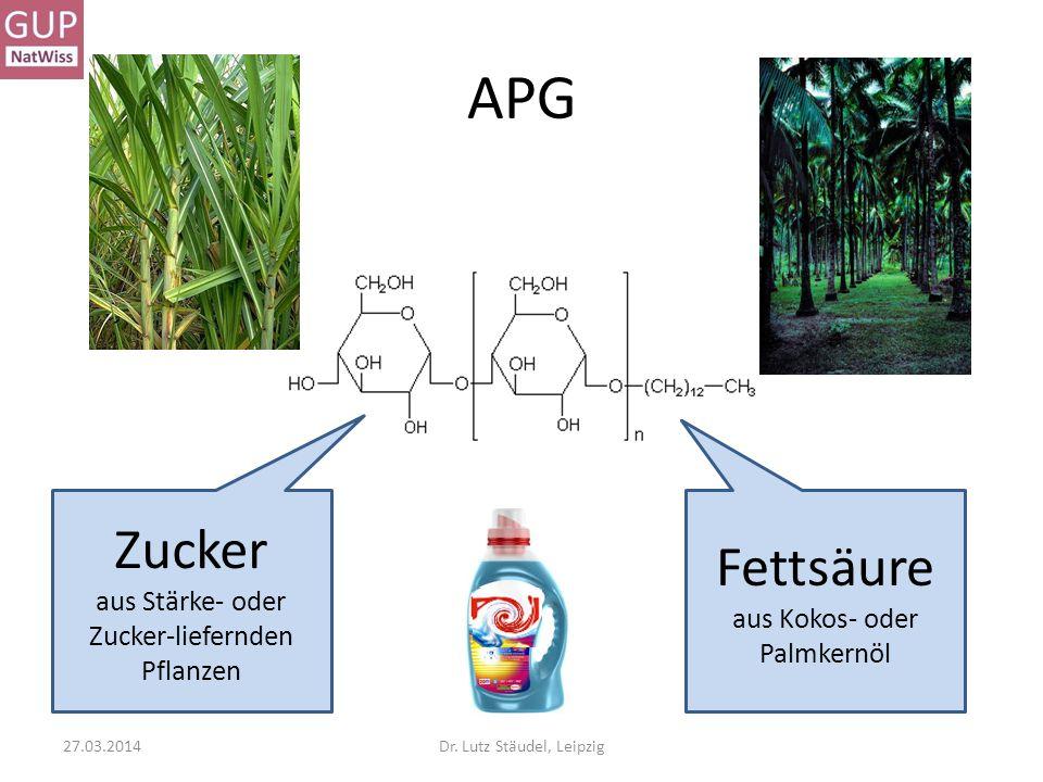 APG Zucker aus Stärke- oder Zucker-liefernden Pflanzen Fettsäure aus Kokos- oder Palmkernöl 27.03.2014Dr. Lutz Stäudel, Leipzig