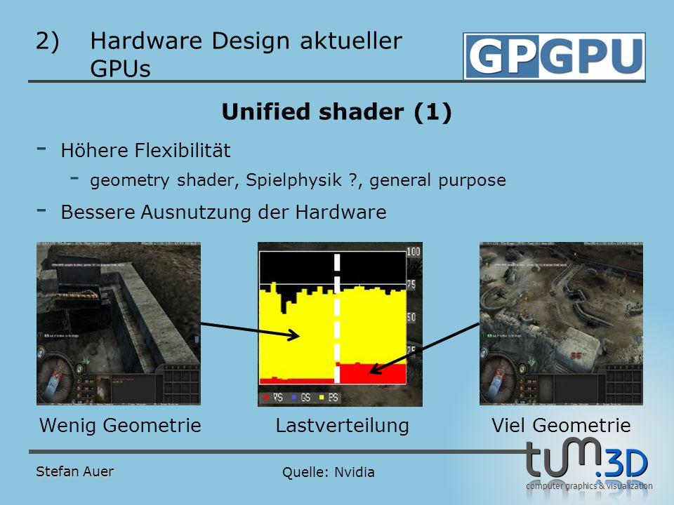 computer graphics & visualization 2)Hardware Design aktueller GPUs Unified shader (1) - Höhere Flexibilität - geometry shader, Spielphysik ?, general