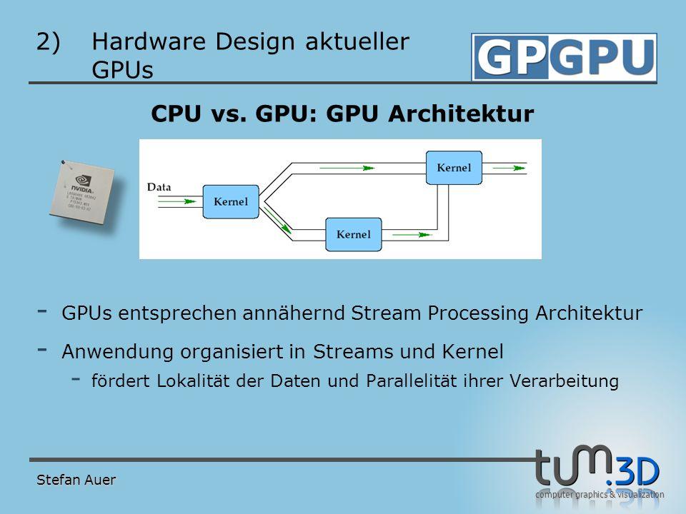 computer graphics & visualization 2)Hardware Design aktueller GPUs CPU vs. GPU: GPU Architektur - GPUs entsprechen annähernd Stream Processing Archite