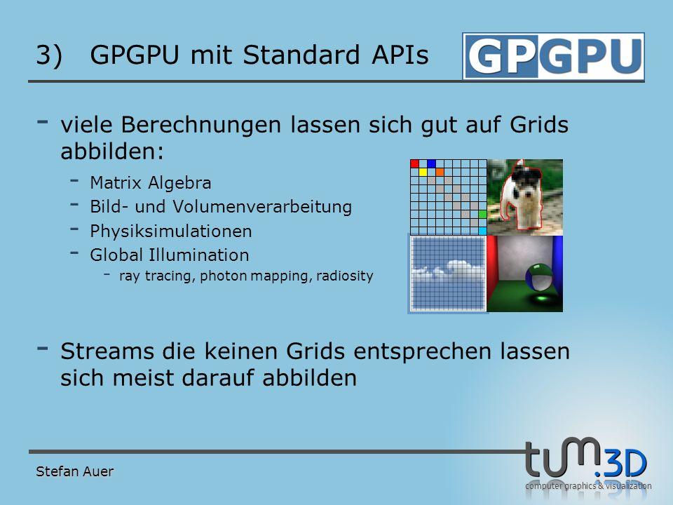 computer graphics & visualization 3)GPGPU mit Standard APIs - viele Berechnungen lassen sich gut auf Grids abbilden: - Matrix Algebra - Bild- und Volu