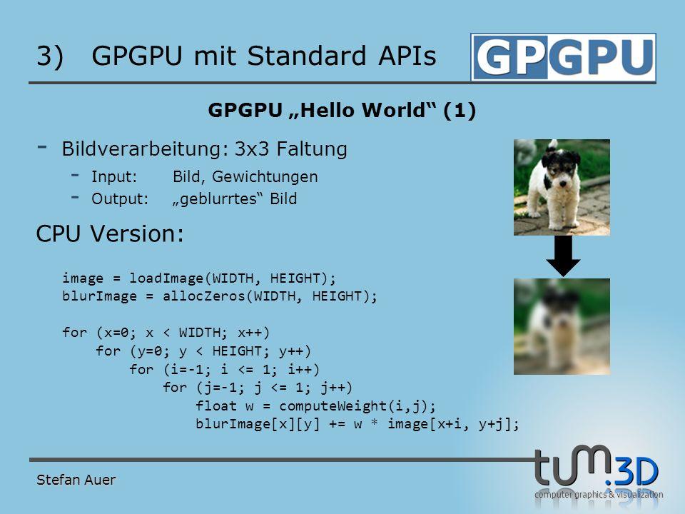 computer graphics & visualization 3)GPGPU mit Standard APIs GPGPU Hello World (1) - Bildverarbeitung: 3x3 Faltung - Input:Bild, Gewichtungen - Output: