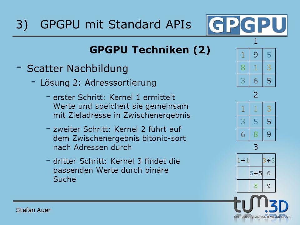 computer graphics & visualization 3)GPGPU mit Standard APIs GPGPU Techniken (2) - Scatter Nachbildung - Lösung 2: Adresssortierung - erster Schritt: K