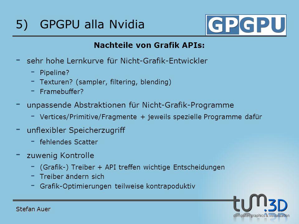 computer graphics & visualization 5)GPGPU alla Nvidia Nachteile von Grafik APIs: - sehr hohe Lernkurve für Nicht-Grafik-Entwickler - Pipeline? - Textu