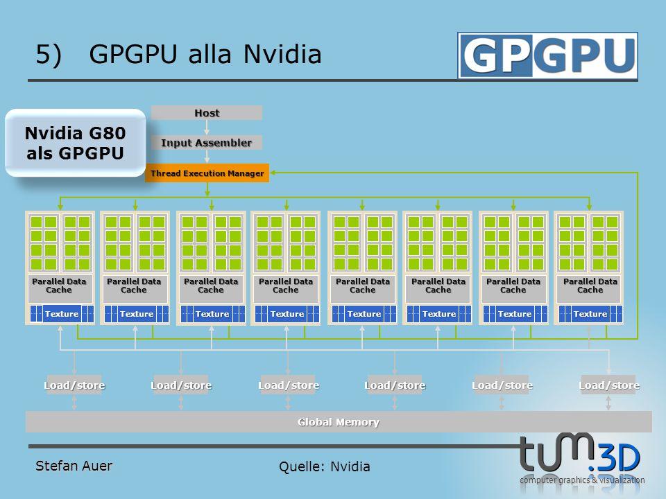 computer graphics & visualization 5)GPGPU alla Nvidia Stefan Auer Quelle: Nvidia Nvidia G80 als GPGPU Nvidia G80 als GPGPU