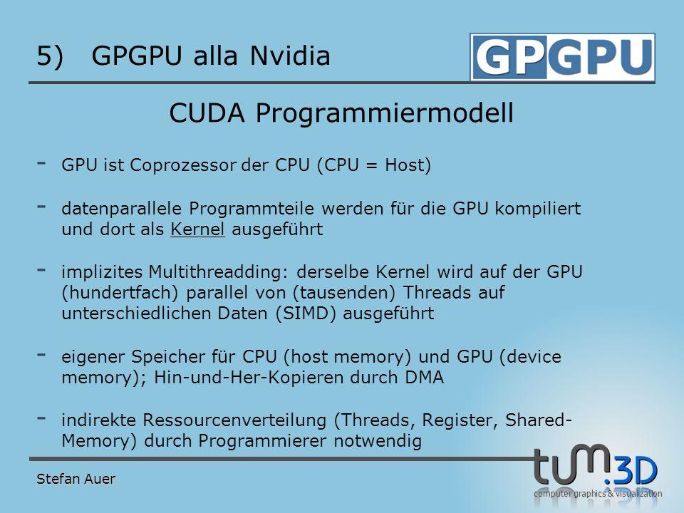 computer graphics & visualization 5)GPGPU alla Nvidia CUDA Programmiermodell - GPU ist Coprozessor der CPU (CPU = Host) - datenparallele Programmteile
