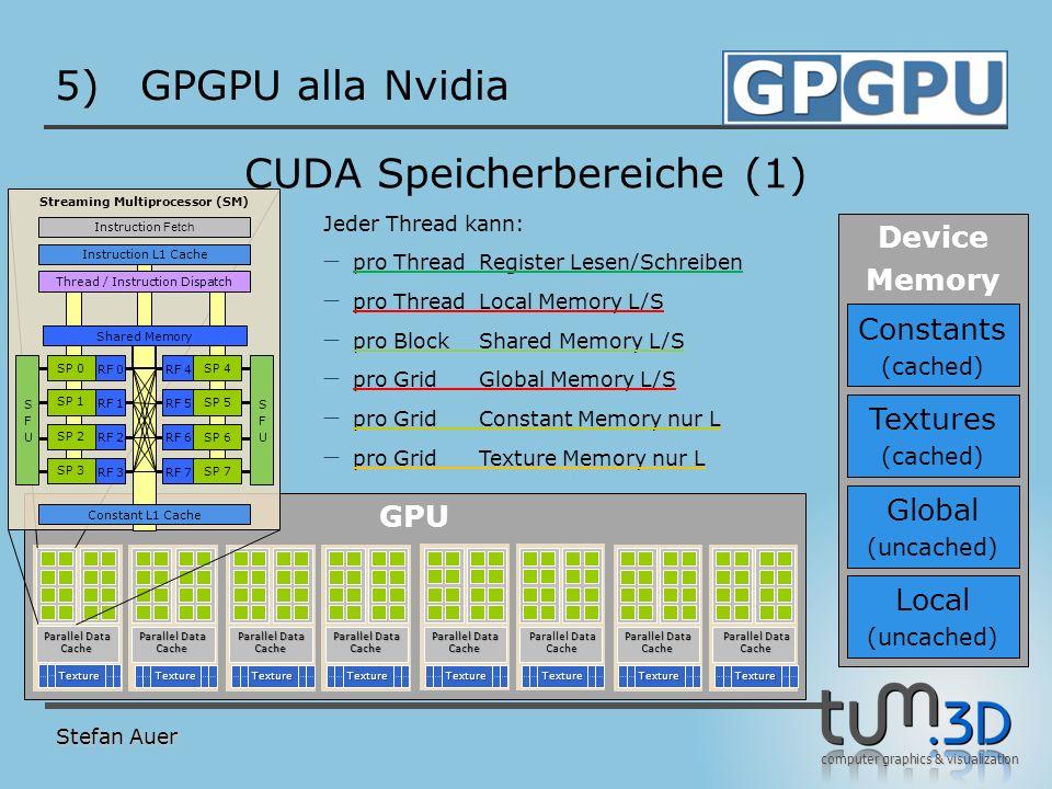computer graphics & visualization GPU 5)GPGPU alla Nvidia Stefan Auer CUDA Speicherbereiche (1) TextureTextureTextureTextureTextureTextureTextureTextu