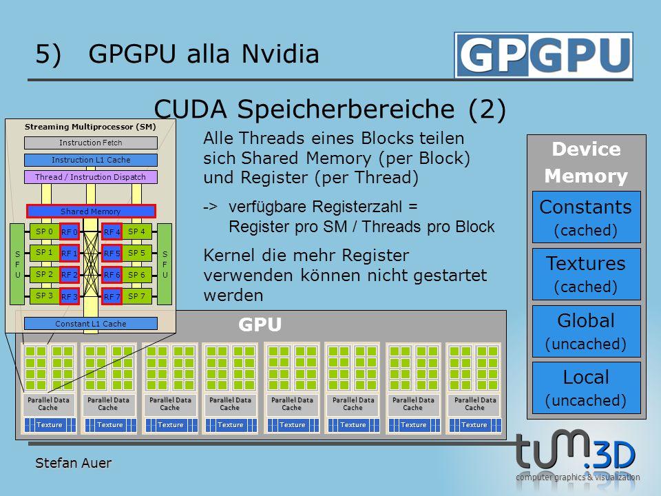 computer graphics & visualization GPU 5)GPGPU alla Nvidia Stefan Auer CUDA Speicherbereiche (2) TextureTextureTextureTextureTextureTextureTextureTextu