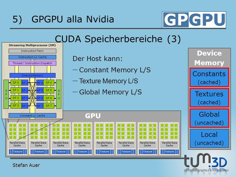 computer graphics & visualization GPU 5)GPGPU alla Nvidia Stefan Auer CUDA Speicherbereiche (3) TextureTextureTextureTextureTextureTextureTextureTextu