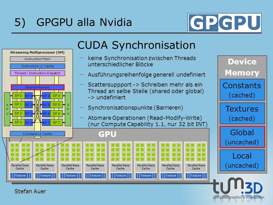 computer graphics & visualization GPU 5)GPGPU alla Nvidia Stefan Auer CUDA Synchronisation TextureTextureTextureTextureTextureTextureTextureTexture Te