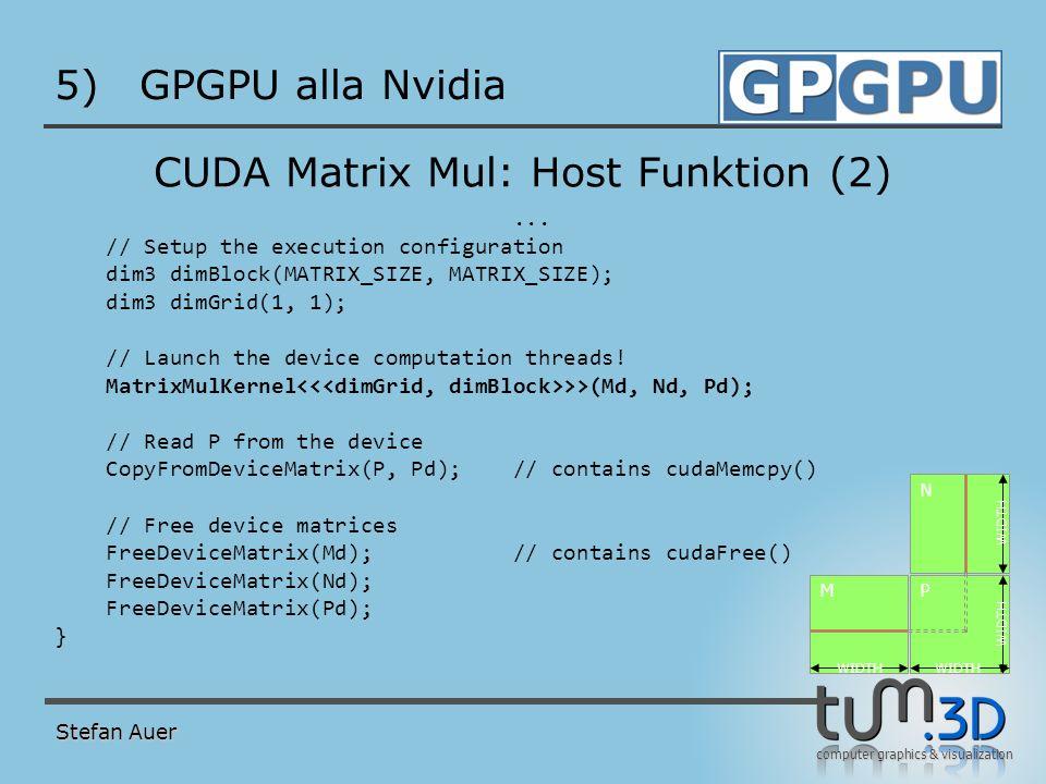 computer graphics & visualization 5)GPGPU alla Nvidia CUDA Matrix Mul: Host Funktion (2)... // Setup the execution configuration dim3 dimBlock(MATRIX_