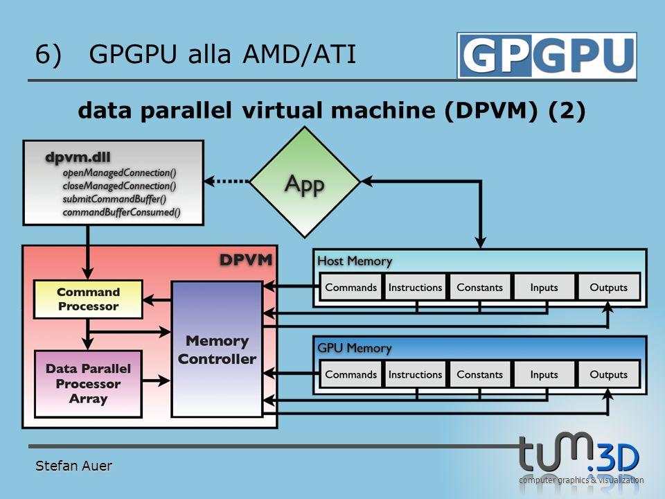 computer graphics & visualization 6)GPGPU alla AMD/ATI data parallel virtual machine (DPVM) (2) Stefan Auer