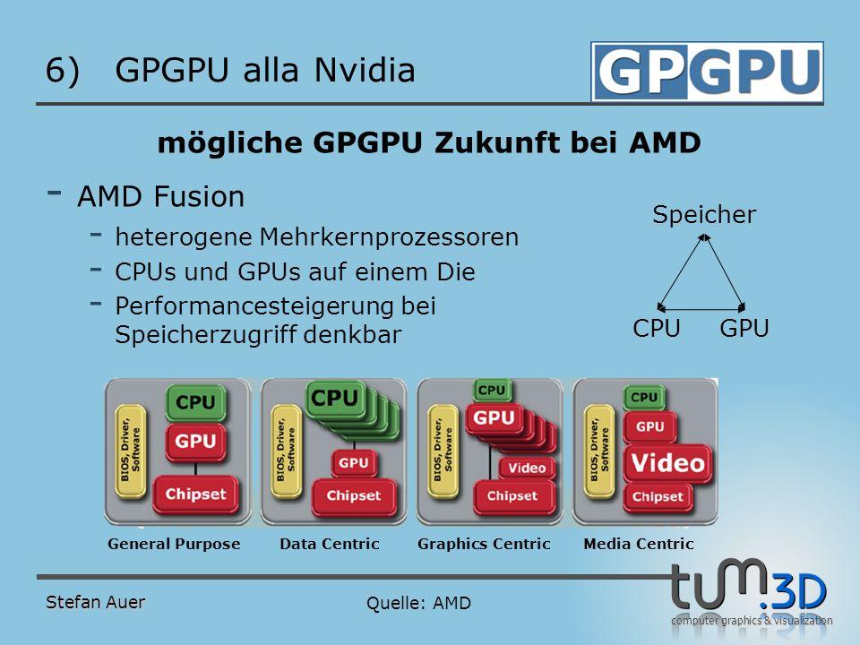 computer graphics & visualization 6)GPGPU alla Nvidia mögliche GPGPU Zukunft bei AMD - AMD Fusion - heterogene Mehrkernprozessoren - CPUs und GPUs auf
