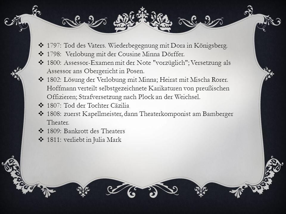 1812: verlässt das Bamberger Theater.Postwagenunglück, Mischa wird verletzt.