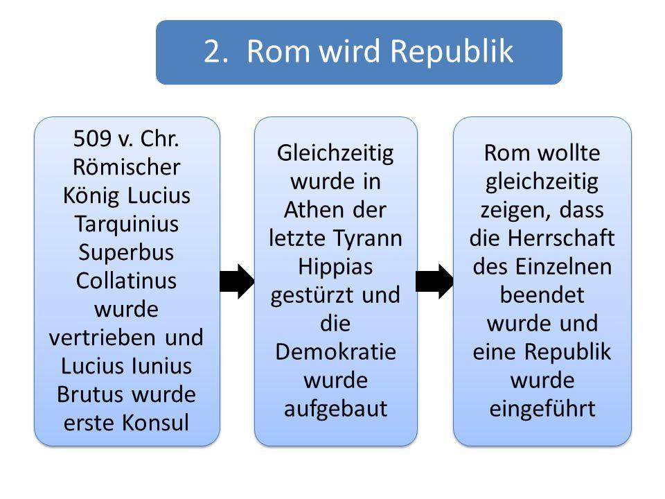 2. Rom wird Republik 509 v. Chr. Römischer König Lucius Tarquinius Superbus Collatinus wurde vertrieben und Lucius Iunius Brutus wurde erste Konsul Gl