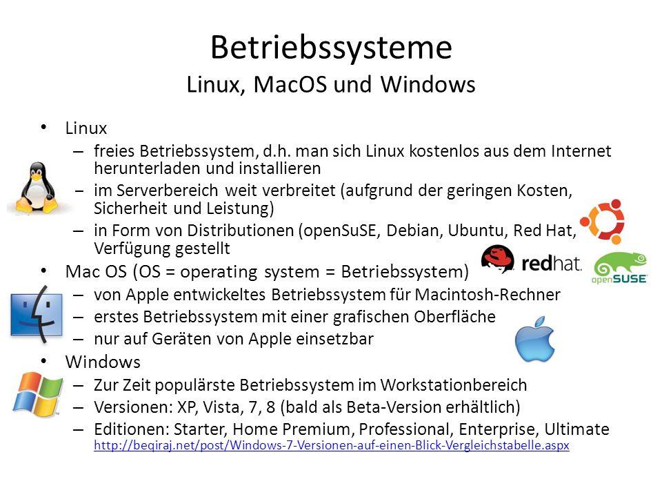 Betriebssysteme Linux, MacOS und Windows Linux – freies Betriebssystem, d.h. man sich Linux kostenlos aus dem Internet herunterladen und installieren
