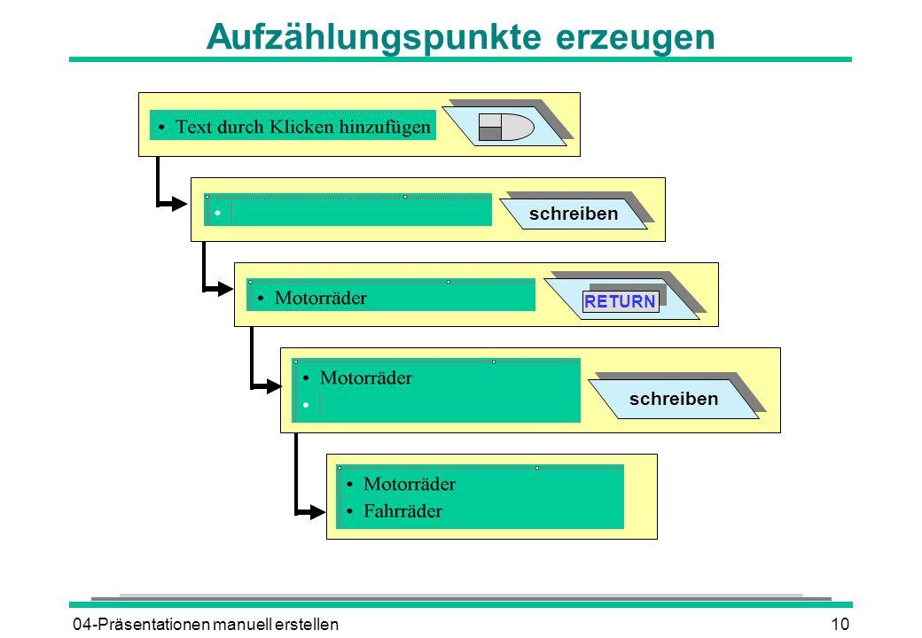 04-Präsentationen manuell erstellen10 Aufzählungspunkte erzeugen schreiben RETURN schreiben