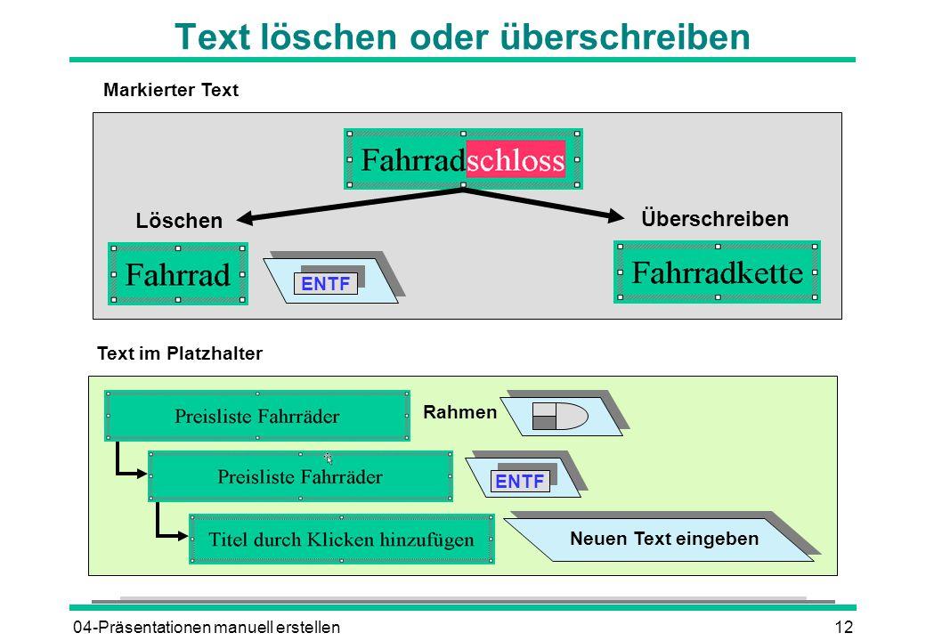 04-Präsentationen manuell erstellen12 Text löschen oder überschreiben Löschen Überschreiben Neuen Text eingeben Rahmen ENTF Text im Platzhalter ENTF Markierter Text