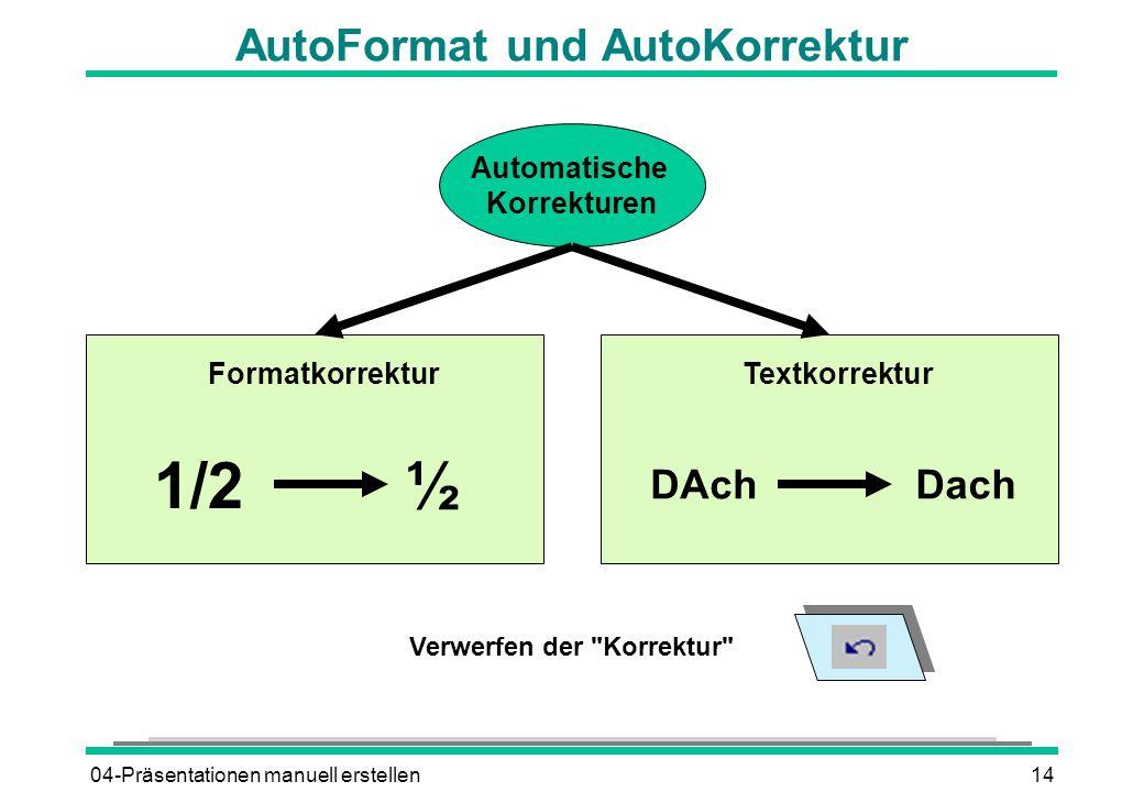 04-Präsentationen manuell erstellen14 AutoFormat und AutoKorrektur Automatische Korrekturen FormatkorrekturTextkorrektur 1/2½ DAchDach Verwerfen der Korrektur