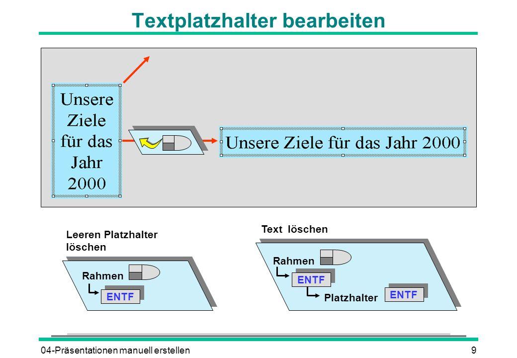 04-Präsentationen manuell erstellen9 Textplatzhalter bearbeiten Rahmen ENTF Leeren Platzhalter löschen Rahmen ENTF Text löschen ENTF Platzhalter