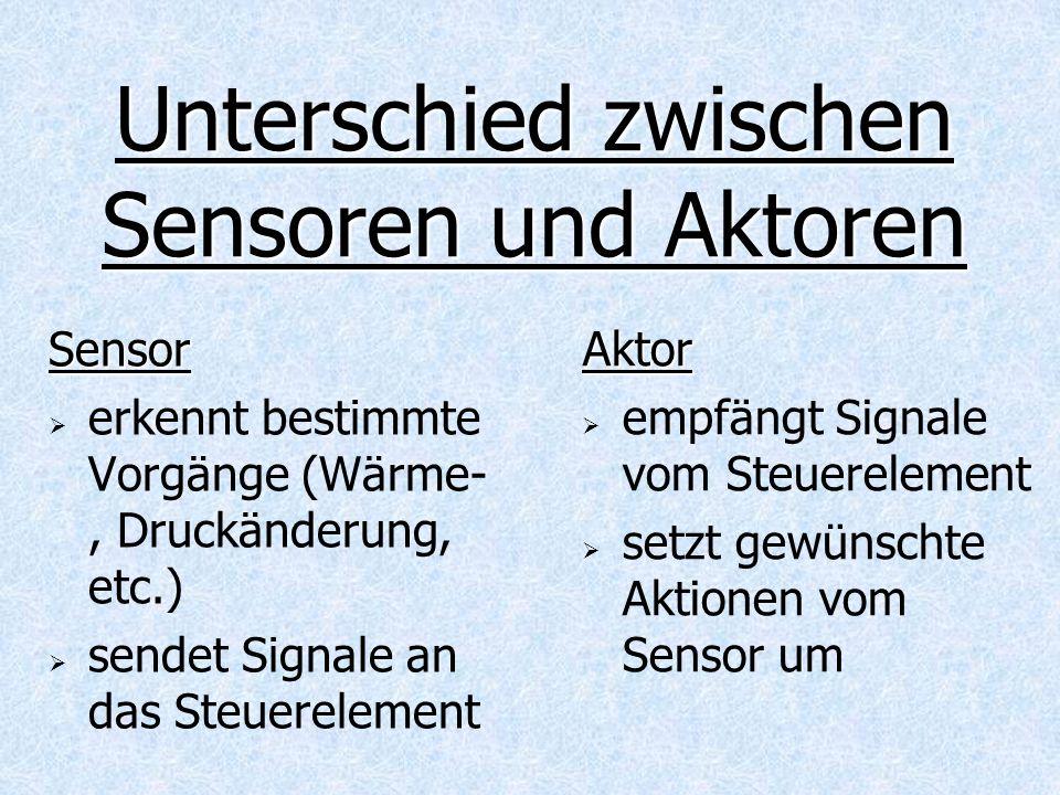 Unterschied zwischen Sensoren und Aktoren Sensor erkennt bestimmte Vorgänge (Wärme-, Druckänderung, etc.) sendet Signale an das Steuerelement Aktor em
