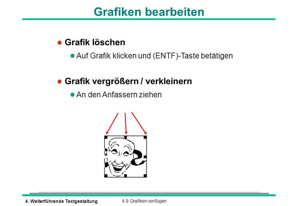 4. Weiterführende Textgestaltung4.9 Grafiken einfügen Grafiken bearbeiten l Grafik löschen Auf Grafik klicken und (ENTF)-Taste betätigen l Grafik verg
