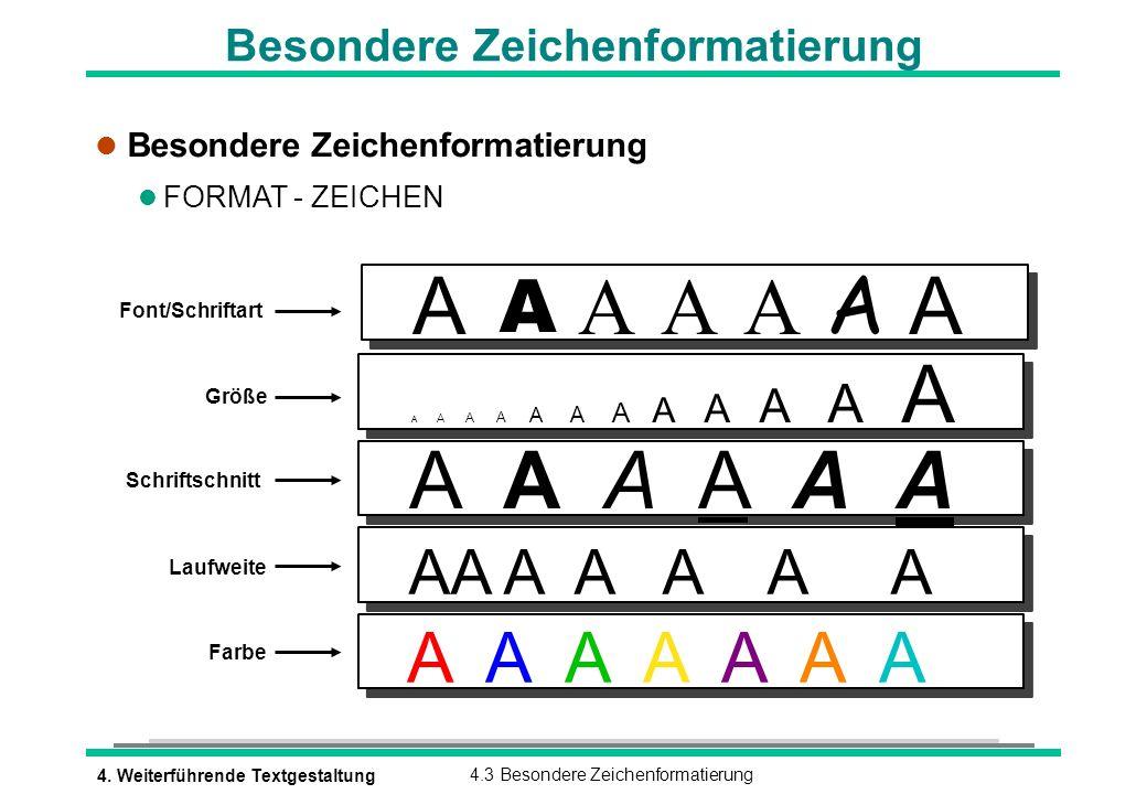4. Weiterführende Textgestaltung4.3 Besondere Zeichenformatierung Besondere Zeichenformatierung l Besondere Zeichenformatierung l FORMAT - ZEICHEN Fon