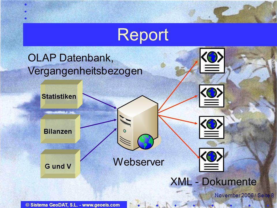 © Sistema GeoDAT, S.L. - www.geoeis.com November 2006 / Seite 8 Report OLAP Datenbank, Vergangenheitsbezogen Webserver XML - Dokumente G und V Bilanze