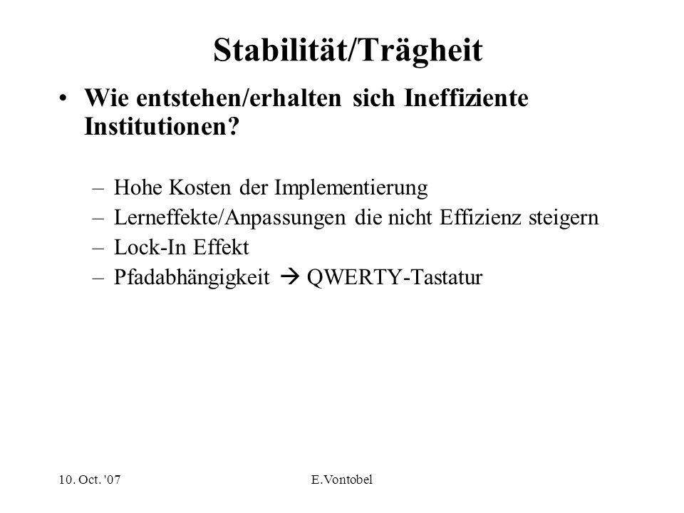 10. Oct. '07E.Vontobel Stabilität/Trägheit Wie entstehen/erhalten sich Ineffiziente Institutionen? –Hohe Kosten der Implementierung –Lerneffekte/Anpas