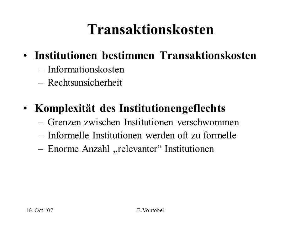 10. Oct. '07E.Vontobel Transaktionskosten Institutionen bestimmen Transaktionskosten –Informationskosten –Rechtsunsicherheit Komplexität des Instituti
