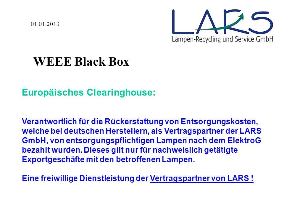 In Verkehr Bringung / Berechnung der Entsorgungskostenpauschale Hersteller Meldung der monatlich in Verkehr gebrachten Lampenmengen und Netto- Gewichte je Marke durch den Hersteller an das LARS- WEEE Black Box Internet- portal (jeweils bis zum 10.