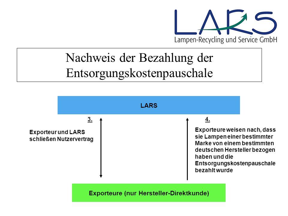 Nachweis der Bezahlung der Entsorgungskostenpauschale LARS Exporteure weisen nach, dass sie Lampen einer bestimmter Marke von einem bestimmten deutsch