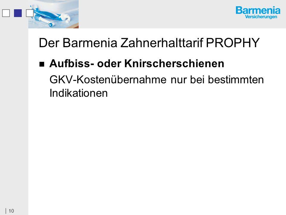 10 Der Barmenia Zahnerhalttarif PROPHY Aufbiss- oder Knirscherschienen GKV-Kostenübernahme nur bei bestimmten Indikationen