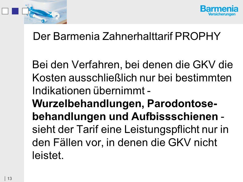 13 Der Barmenia Zahnerhalttarif PROPHY Bei den Verfahren, bei denen die GKV die Kosten ausschließlich nur bei bestimmten Indikationen übernimmt - Wurzelbehandlungen, Parodontose- behandlungen und Aufbissschienen - sieht der Tarif eine Leistungspflicht nur in den Fällen vor, in denen die GKV nicht leistet.