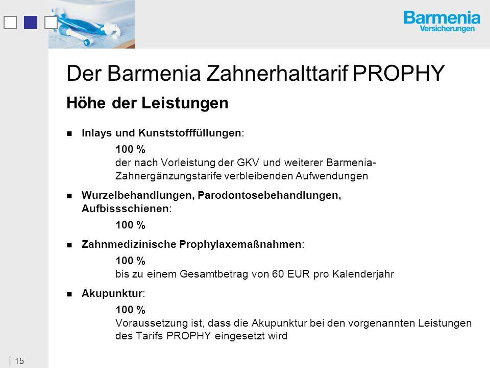 15 Der Barmenia Zahnerhalttarif PROPHY Höhe der Leistungen Inlays und Kunststofffüllungen: 100 % der nach Vorleistung der GKV und weiterer Barmenia- Zahnergänzungstarife verbleibenden Aufwendungen Wurzelbehandlungen, Parodontosebehandlungen, Aufbissschienen: 100 % Zahnmedizinische Prophylaxemaßnahmen: 100 % bis zu einem Gesamtbetrag von 60 EUR pro Kalenderjahr Akupunktur: 100 % Voraussetzung ist, dass die Akupunktur bei den vorgenannten Leistungen des Tarifs PROPHY eingesetzt wird